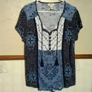 Style & Co blue floral shirt size large